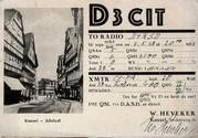 D3CIT = DE2370 T, Obering. Wilhelm Heveker, Kassel-Wilhelmshöhe, Neckarweg 16E (Bild: Dokumentationsarchiv Funk/QSL Collection; QSLs im Archiv, nachgewiesen 1937-1943)